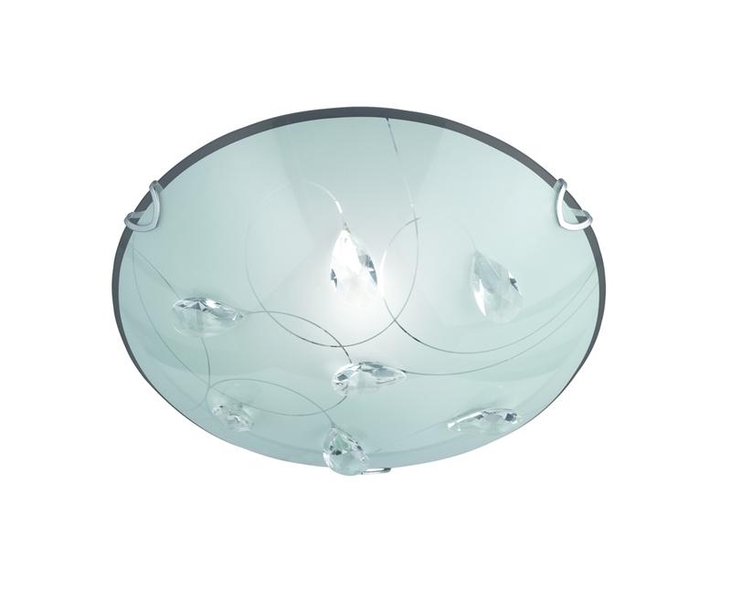 Plafoniera Tonda A Led : Carbonado plafoniera tonda vetro satinato decoro gemme cm nr