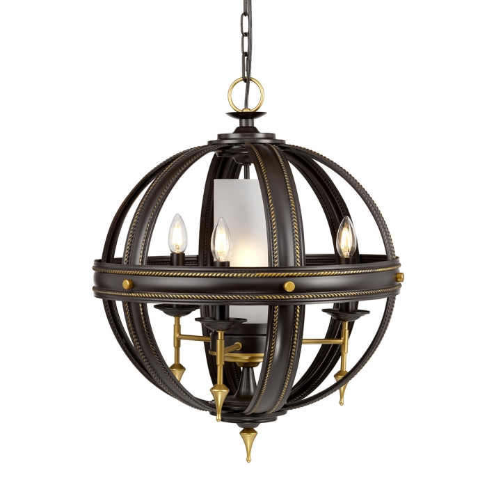 REGAL lampadario classico in acciaio finitura Orb/oro -Mis. (mm): H:648 D:541 H:min 838 max 2362 Lampadine LED in omaggio 4x E14  Elstead Lighting REGAL4