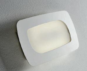 Stone applique vetro bianco montatura bianca led w