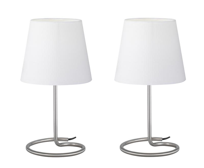 Twin set lampada tavolo base metallo con paralume bianco h cm