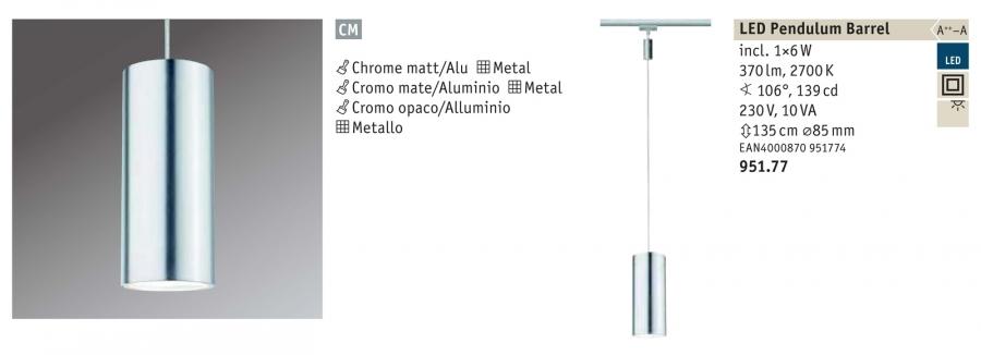Urail barrel sopsensione cromo opaco cm alluminio con for Binario paulmann