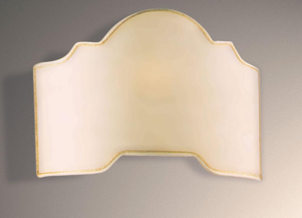 Ventola applique d h sp tessuto pergamena rifinita oro