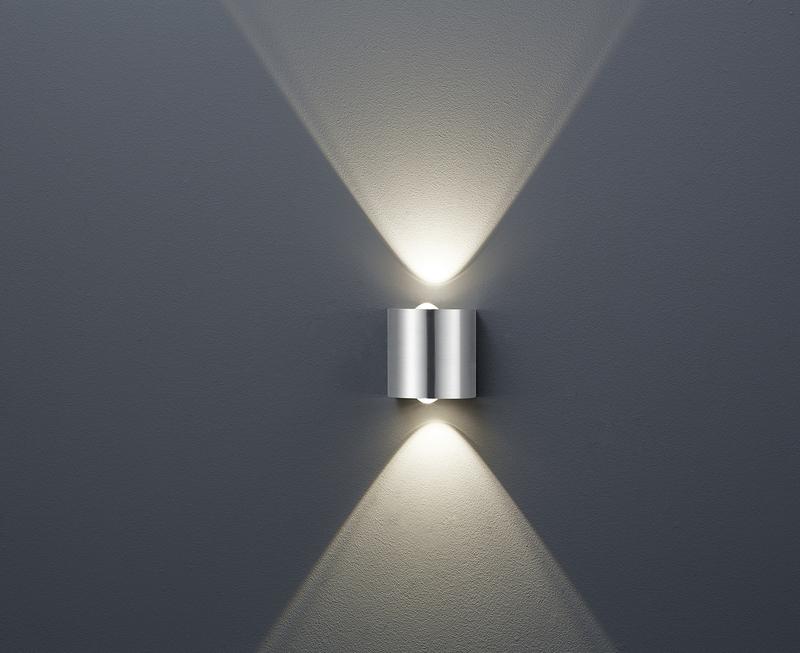 Wales applique led acciaio doppia luce cm nr lampadine