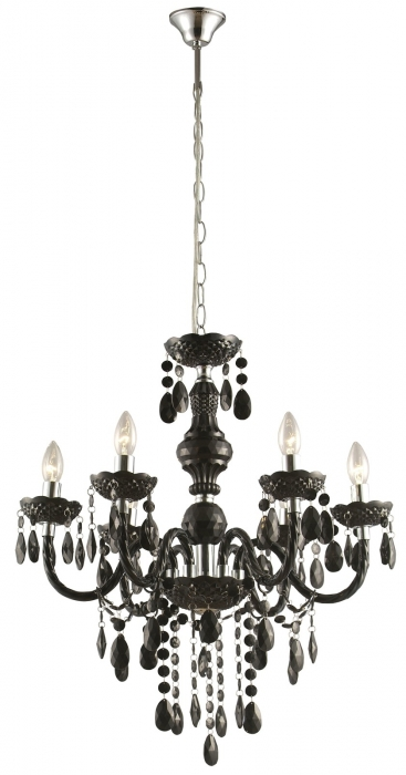 CUIMBRA Lustre cromo nero cristalli acrilici Materiale: cristalli acrilici, cromo Colore: nero H: 1660 mm D: 670 mm attacco E14 -Lamp. LED compatibili in omaggio GLOBO LIGHTING 63110-6