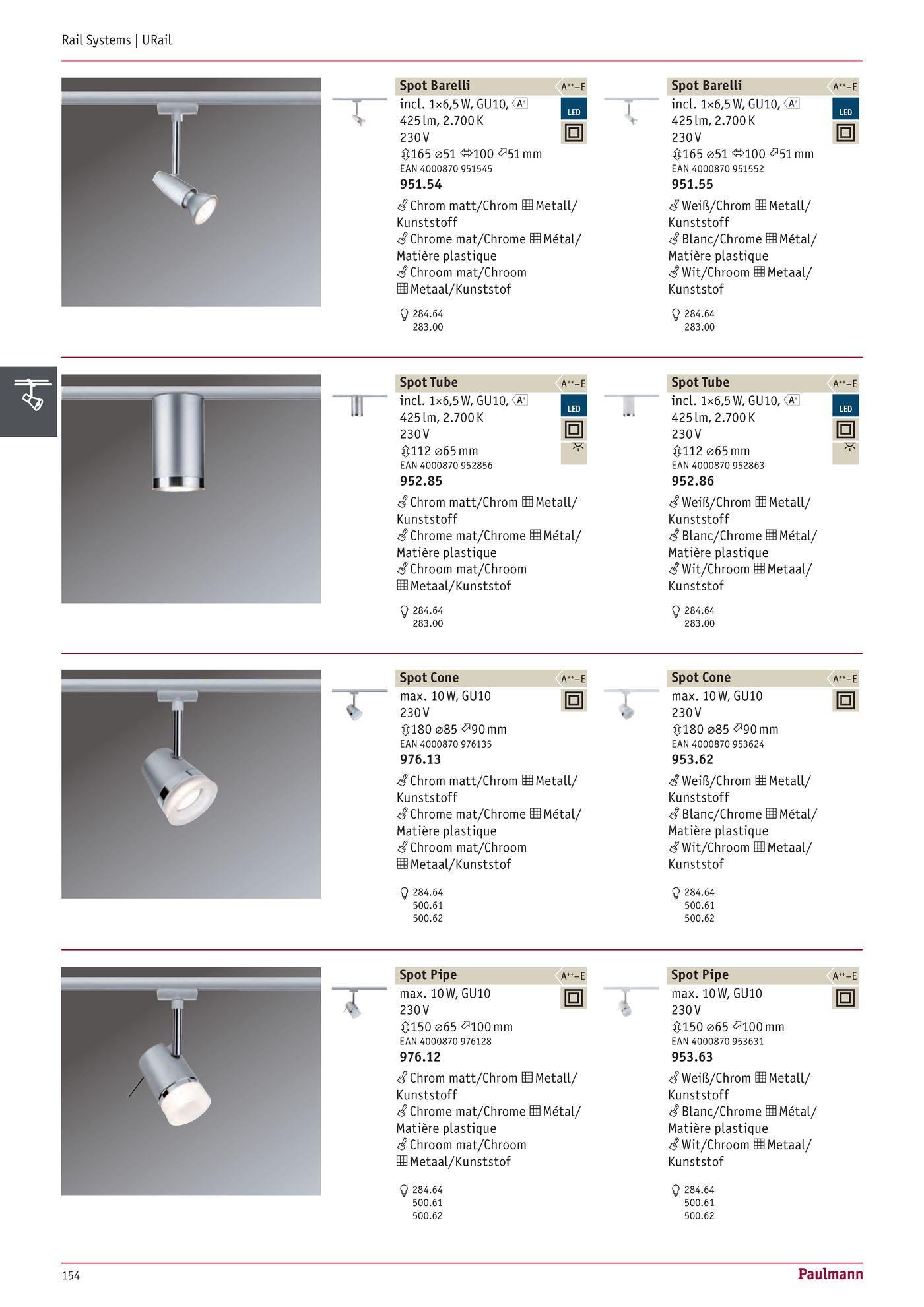 Urail spot tube faretto in metallo bianco w per for Binario paulmann